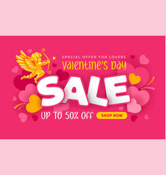 Valentines day sale advertising banner vector