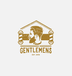 vintage men barber shop logo design inspiration vector image
