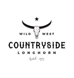 vintage retro texas longhorn buffalo bull cow vector image