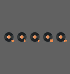 vynil disk music player volume icon set audio vector image