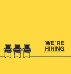 We are hiring concept design with three chair vector