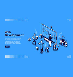 web development isometric landing page coding vector image