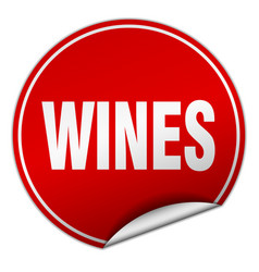 Wines round red sticker isolated on white vector
