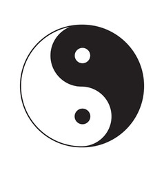 Yin Yang sign icon White and black Feng shui vector