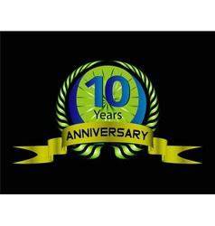 Celebrating 10 Years Anniversary Green Laurel vector image