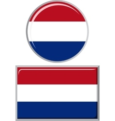 Dutch round and square icon flag vector image vector image