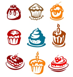 Fruitcakes ad pies set vector