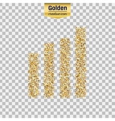 Gold glitter icon of wireless isolated on vector