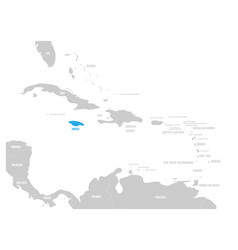 jamaica blue marked in the map of caribbean vector image vector image