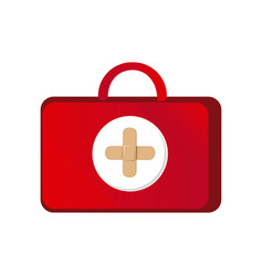 red suitcase healthcare with pink hospital symbol vector image vector image