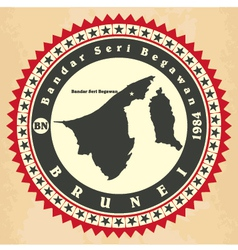Vintage label-sticker cards of Brunei vector image