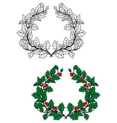 Christmas holly wreath vector image vector image