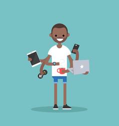 multitasking millennial concept young black man vector image