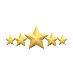 set of realistic metallic golden star isolated on vector image
