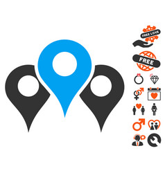 locations icon with lovely bonus vector image vector image