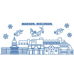 usa wisconsin madison winter city skyline merry vector image