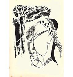 Art of Line Art - Gypsy vector image vector image