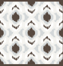 ikat geometric seamless pattern white and brown vector image vector image