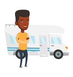 man standing in front of motor home vector image