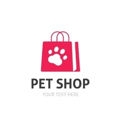 Pet shop logo isolated on white zoo store vector image vector image
