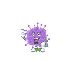 A character coronavirus influenza waiter working vector