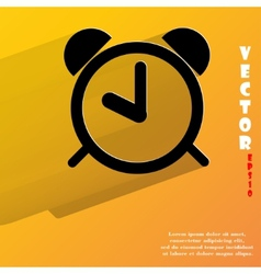 alarm clock Flat modern web button with long vector image