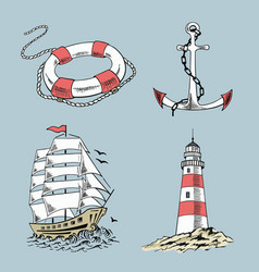Anchor boat lifebuoy lighthouse ship vector