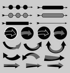 Arrow icon set with shadow vector