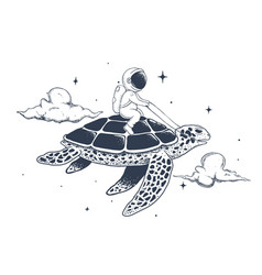 astronaut flying on a turtle vector image