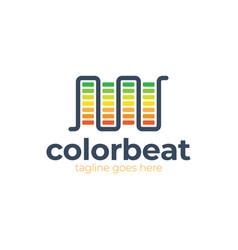 Audio sound wave logo template stock design line vector
