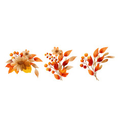 Autumn flowers bouquet in a watercolor style vector