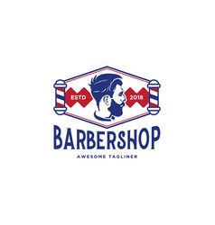 barber shop logo design inspiration in blue and vector image
