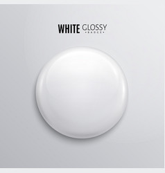 Blank white glossy badge or button 3d render vector