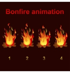 Bonfire animation sprites for game design vector