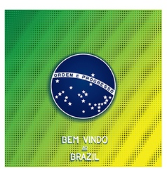 Bright background with blue disc of flag brazil vector