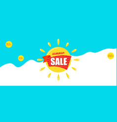 bright blue banner with yellow sun and text summer vector image