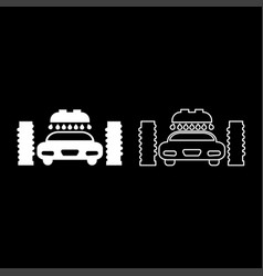 car wash automatic icon set white color flat vector image