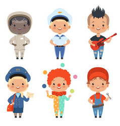 cartoon kids at different vector image