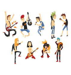 Cartoon rock artists characters singing and vector