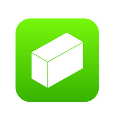 Cement block icon green vector
