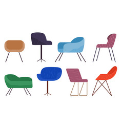 Chairs collection comfortable seat armchairs vector
