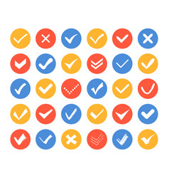 check and cross marks icons - set web elements vector image