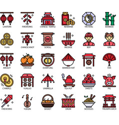 Chinese new year filloutline vector