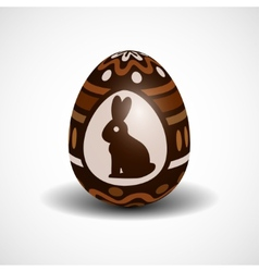 chocolate Easter egg with ornament and rabbit vector image