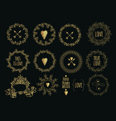 collection of handdrawn gold laurels and wreaths vector image