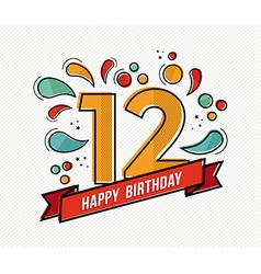 Colorful happy birthday number 12 flat line design vector