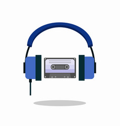 Compact cassette and headphones hipster style and vector