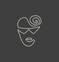 Continuous line face in sun glasses drawing vector