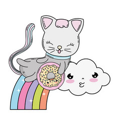 Cute cat with donut in rainbow vector