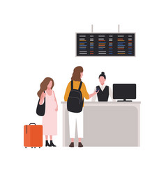 cute couple at check-in desk or passport control vector image